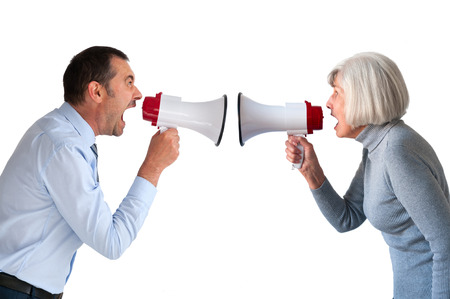 discord: man and senior woman arguing isolated on white