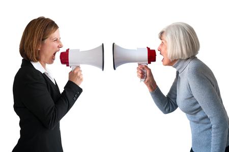 women arguing isolated on white 版權商用圖片