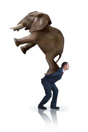 arduous: a determined strong businessman carrying an elephant on his back