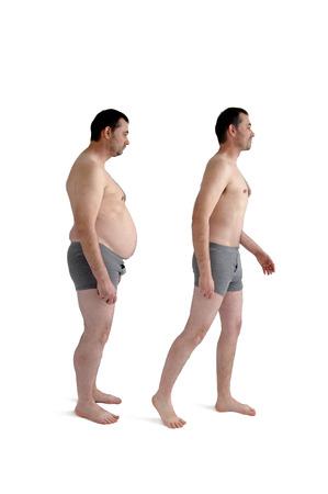 gordos: dieta de pérdida de peso antes y después de la comparación concepto del hombre aislado en blanco