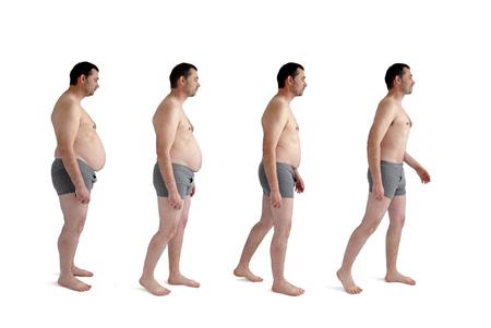 Diät Gewichtsverlust Transformation Konzept Mann isoliert auf weiß