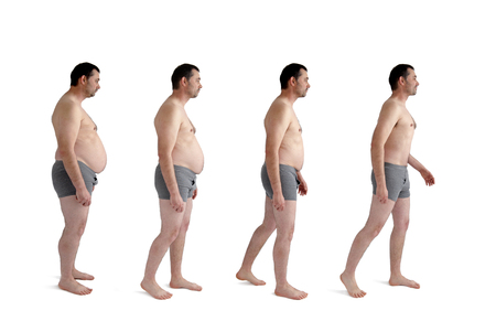 diet weight loss transformation concept man isolated on white Banque d'images