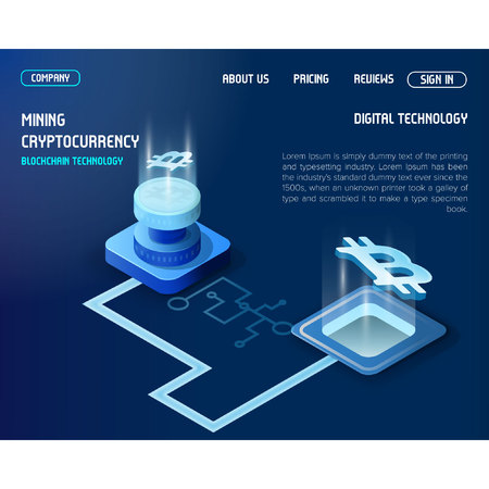 Cryptocurrency landing page for bitcoin crypto currency mining and blockchain