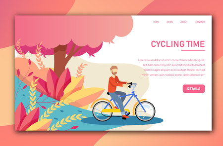 Vector landing page tepmplate with young man cycling a bike Ilustração