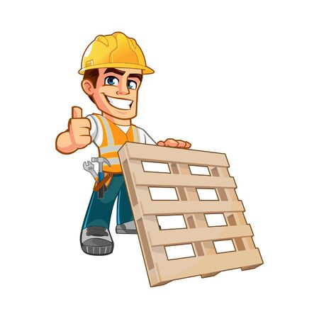 Friendly Carpenter,he is dressed in protection cloth and carrying a wooden pallet Ilustração