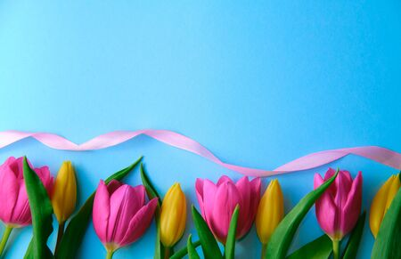 colourfull flowers with pink ribbon on blue background, copyspace, postcard, label concept, blank space left for text on top Stockfoto