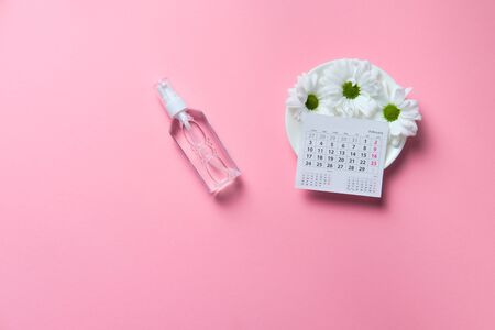 chamomile flowers with calendar on pink background valentine concept blank space left for text insertion, copyspace, gift ideas february, advertisement