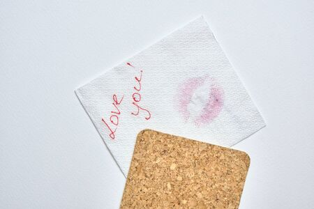 top view of valentine letter with smudged kiss isolated on white background Stock Photo