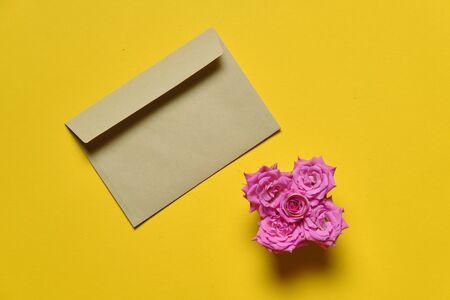 Proposal kit with kraft envelop on plain yellow background