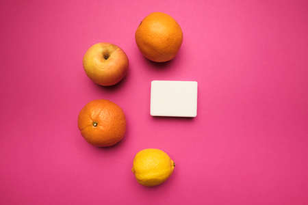 Natural orange soap manual manufactures against juicy fresh fruits, pure natural igredients concept