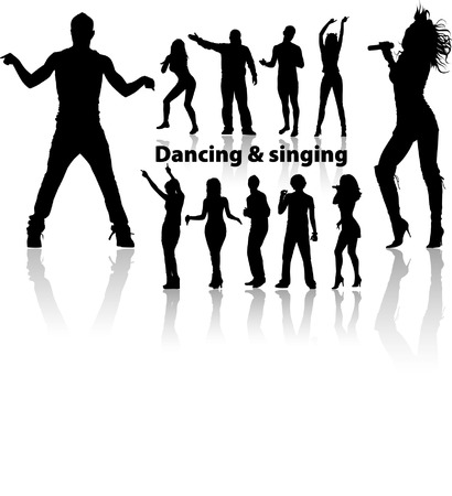 singing silhouette: dancing and singing peoples silhouette