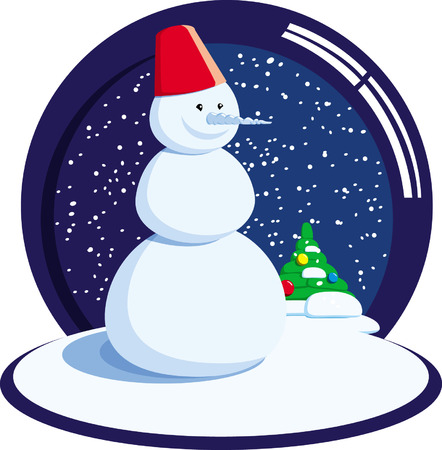 snow man with falling snow and cristmas tree Stock Vector - 4009769