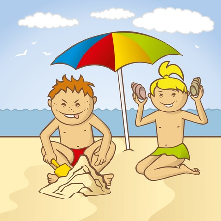 playing kids on a beach at the sea Иллюстрация