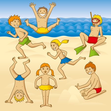comix: playing kids on a beach at the sea Illustration