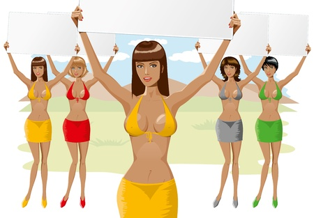 vector beautiful girl in bikini and skirt with empty board close-up and full-length Vector