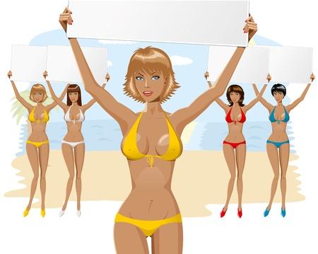 beach breast: vector beautiful girl in bikini with empty board close-up and full-length