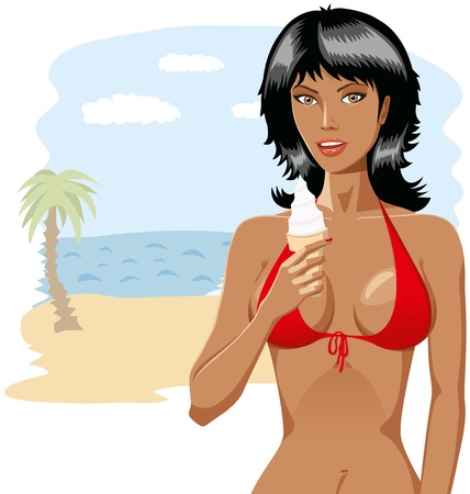 Beautiful girl in bikini with icecreame isolated Stock Vector - 8976883