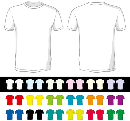 blank shirt: vector blank shorts of a different color isolated on white and black Illustration