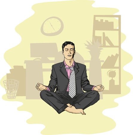 thinking student: vector businessman in lotus pose meditating at the office