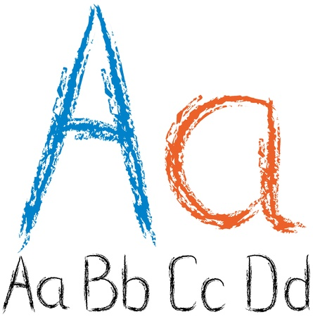 letter alphabet pictures: vector chalk sketch letters and numbers isolated on white background