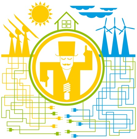 save energy icons: vector concept save the energy, with sun and wind