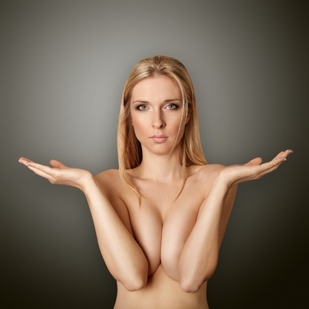 beautiful woman looking at camera, with open hands Stock Photo - 8992496