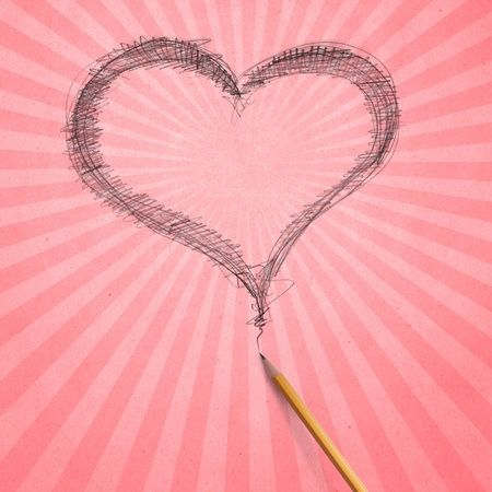 Vintage aged beige old paper with sketch pencil heart Stock Photo - 8992586