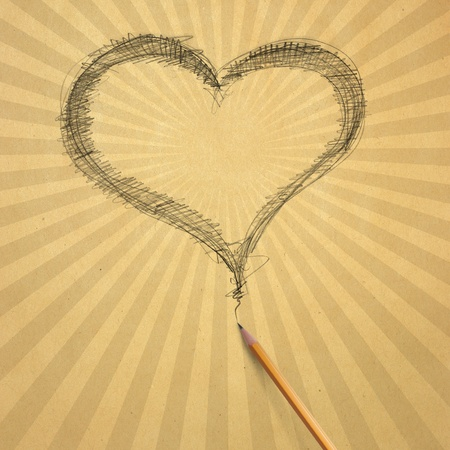 Vintage aged beige old paper with sketch pencil heart Stock Photo - 8992584