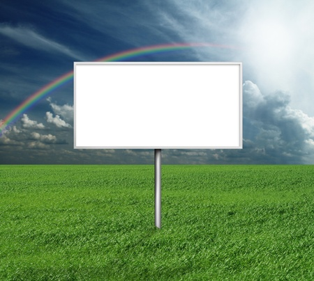billboard and green grass and blue cloudly sky with sun Stock Photo - 8992551