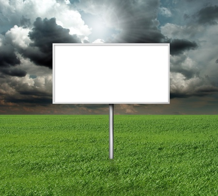 billboard and green grass and blue cloudly sky with sun Stock Photo - 8992552