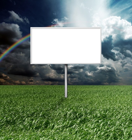 billboard and green grass and blue cloudly sky with sun Stock Photo - 8992548