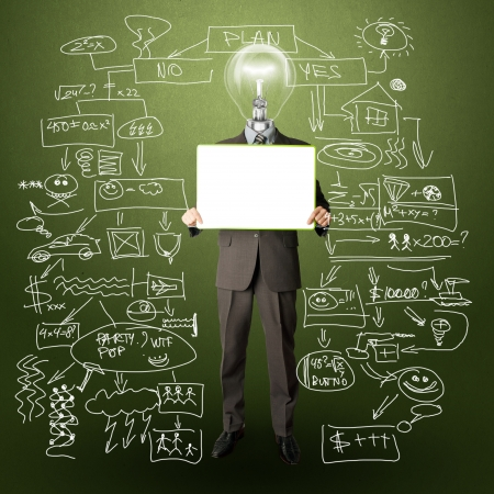 power of thinking: happy businessman with lamp-head holding blank white card in his hands
