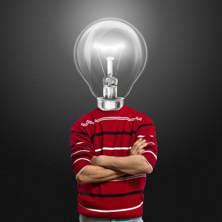 male in red and lamp-head have got an idea Stock Photo - 8992503