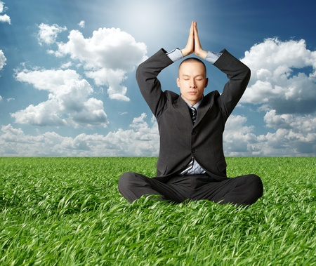 businessman in yoga pose in green grass on blue summer sky photo