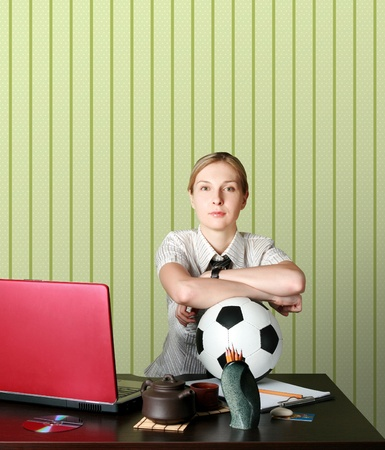businesswoman watching soccer competitions with ball Stock Photo - 8992734