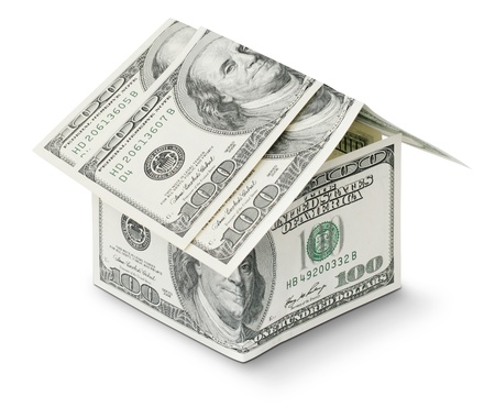dollar in shape house isolated on white background photo