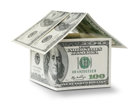 dollar in shape house isolated on white background photo