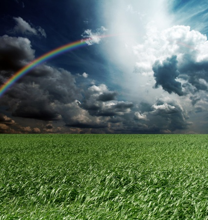 green grass and blue cloudly sky with rainbow Stock Photo - 8992947