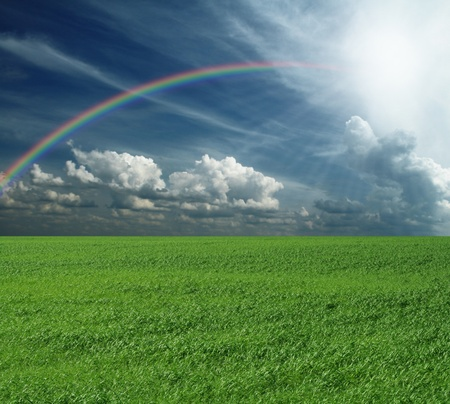 green grass and blue cloudly sky with rainbow photo