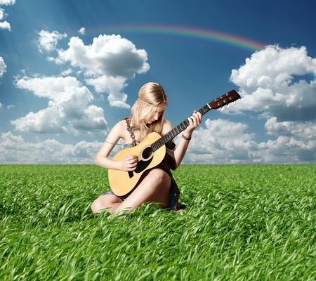 openair: hippie girl with the guitar on openair rock festival