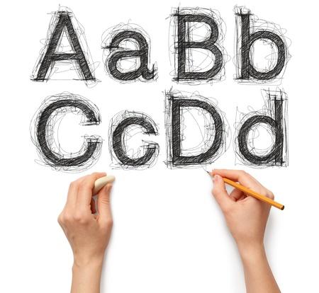 Skizzieren Sie Buchstaben und Zahlen mit Hand und Zeichenstift