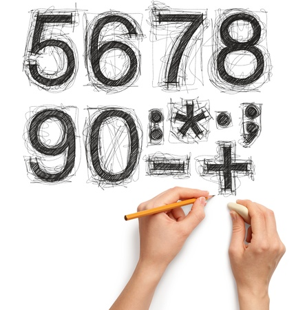 sketch letters and numbers with hand and pencil photo