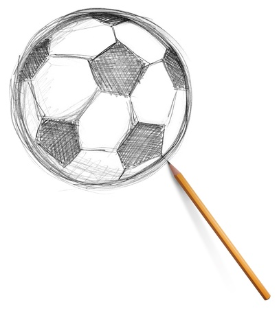 soccer football ball and pencil isolated on white background photo