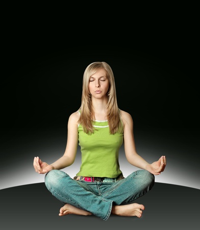 woman meditation in yoga pose isolated on white background photo