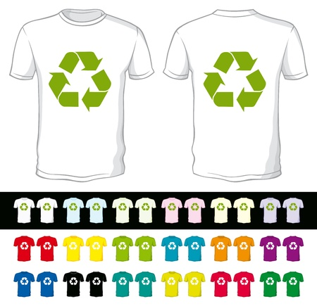 blank shorts with recycling symbol of a different color isolated on white and black Vector