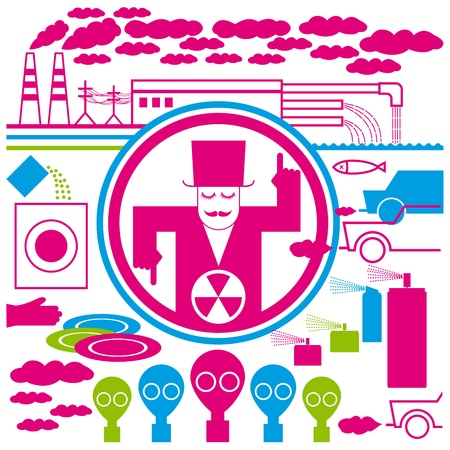 concept pollution with pipes, cars, and clouds Stock Vector - 9094009