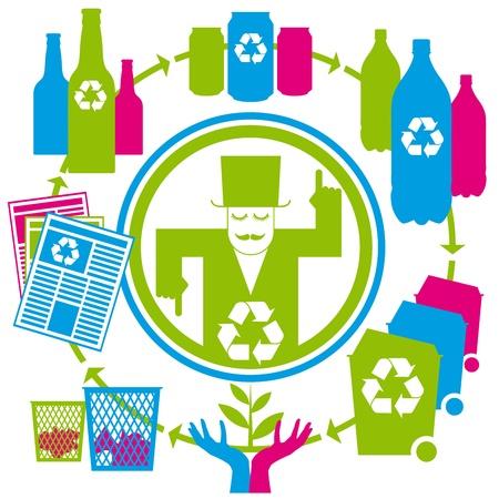 papelera de reciclaje: concepto con latas, latas, botellas, papeles y papeleras de reciclaje Vectores
