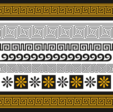arte greca: set di ornamenti di Grecia Vettoriali