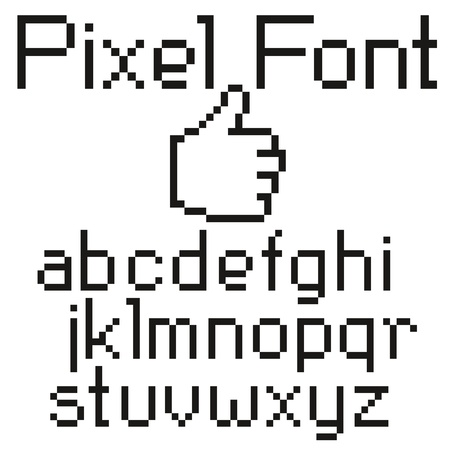 pixel letters big set uppercase and small character Vector
