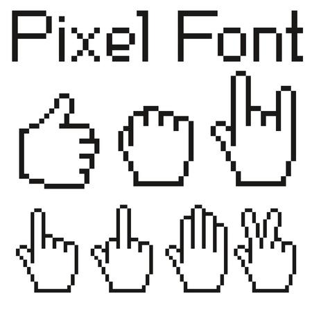 kursor: duże litery pikseli zestawu wielkich i małych znaków Ilustracja